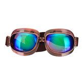 Retro Motorcycle Goggles Vintage winddichte rijbril zilver / brons frame