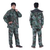 Camouflage Adult Raincoat Suit Poncho Motorcycle Hiking Rainwear Outdoor Tops+Pants