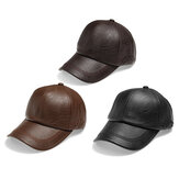 Heren Herfst Winter PU Lace-up Baseball Caps Outdoor Sport Warm Verstelbare Lederen Hoeden
