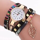 DUOYA DY066 Leaf Fabric Retro Style Ladies Gelang Watch