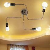 E27 4Heads Vintage Industrial Chandelier Pendant Light Metal Flush Mount Ceiling Lamp AC110-240V