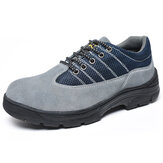 Men Anti Collision Toe Suede Leather Athletic Shoes Sneakers