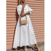 Mulheres casuais diárias cor sólida plissado manga botão feriado maxi vestido