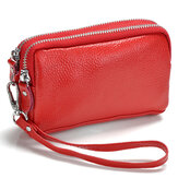 Women Genuine Leather Phone Pocket Multifunctional Wallet