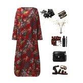 Maxi abito floreale a maniche lunghe ampio Kaftano vintage a maniche lunghe