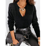 Women Solid Color V-Neck Long Sleeve Plush Casual Blouse