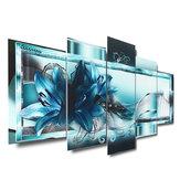 5 Panel Çerçevesiz Modern Tuval Mavi Soyut Çiçek Sanat Asılı Resim Odası Duvar Sanatı Resimleri Ev Dekorasyon Malzemeleri