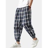 Męskie spodnie lniane w kratę na co dzień ze sznurkiem w pasie z wiązanymi nogawkami z kieszenią