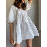 Женщины с пышными рукавами U-образным вырезом, однотонный, с коротким рукавом, повседневная многоуровневая Платье
