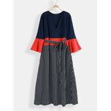 Plus Size Women Stripe Print Contrast Color Patchwork Casual Maxi Dress