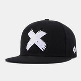 Unisex Hip-hop Style Cross Letter X Embroidery Casual Outdoor Flat Brim Visor Sun Hat Baseball Hat