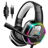 EKSA E1000 Gaming Headphone 7.1 Virtual Surround RGB Cahaya USB Profesional Gaming Headset dengan Mic Kebisingan Membatalkan untuk PC PS4 XBOX Laptop
