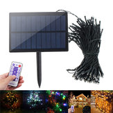 Solar Powered Dimmable 17M 8 modos Timer 100 LED Fairy String Light Decoración navideña Control remoto
