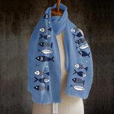 Женский однотонный принт с рыбками Шаблон, длинный льняной шарф, шаль, универсальный, элегантный, Шея, теплый шарф