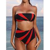 Mulheres cor bloco cintura alta biquíni bandeau swimwear sem alças
