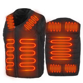 Unisex 9-Heating Zones Electric Vest Heated Jacket USB Warm Up Winter Body Racing Coat Thermal