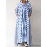 Женщины Полосатый Пэчворк Свободный Длинный Рукав Повседневный Рубашка Платье С Карманом