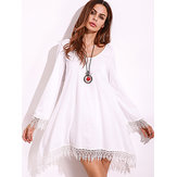 Plus Size Women Lace Tassels Crochet Mini Dress