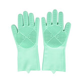 1Pair 2-sided Silicone Protective Glove Dishwashing Scrubber Rubber Scrub Gloves