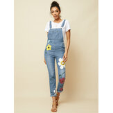 Women Casual Big Flower Print Pockets Denim Jumpsuit