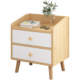 Wooden Nightstand Bedside End Table Bedroom Side Stand Bookshelf Modern Storage Rack with 2 Drawers Home Office Furniture