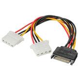 SATA 15-pinowy do podwójnego 4-pinowego zasilacza sieciowego Kabel zasilający SATA Y-Splitter