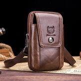 Bullcaptain Retro Echtleder Telefon Tasche Taillentasche Umhängetasche Für Business-Tasche