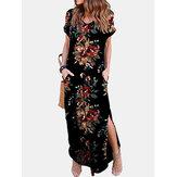 Frauen Blumendruck Kurzarm O-Ausschnitt Seitentaschen Kleid