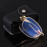 Unisex Taşınabilir Tam Çerçeve Çift Işık Miyopi Hipermetrop Gözlükler Katlanır Anti-Mavi Okuma Gözlükler Deri Kutu
