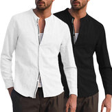 Men's Linen Long Sleeve Solid Shirts Loose Fit Collarless Top Shirt Outdoor Camping Hiking
