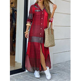 Women Casual Plaid Print Irregular Split Hem Maxi Shirts Dress with Side Pockets