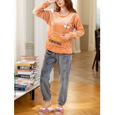 Women Flannel Letter Animal Embroidery Round Neck Pullover Warm Cozy Elastic Cuff Pajamas Set