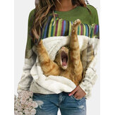 Women Cute Cat Printed Round Neck Casual Raglan Sleeve Pullover Sweatshirts