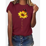 Sunflower And Butterfly Print Crew Neck Short Sleeves Casual Tee
