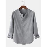 Algodão masculino casual cor sólida manga comprida camisas Henley