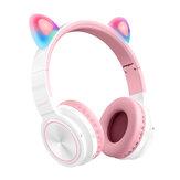 Picun Lucky Cat bluetooth draadloze headset LED-licht TF-kaart schattige kat oor meisjes oortelefoon HIFI stereo bas hoofdtelefoon met microfoon