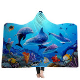 150x200cm Kid Adult Hooded Blankets Soft Ocean World Wearable Throw Blankets Cloak