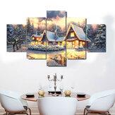 5 paneles de lienzo artístico decoración navideña Interior sin marco decoración del hogar cuadros de pared sala de estar suministros de decoración del hogar