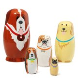 Russian Wooden Nesting Dolls Dogs Matryoshka Hand Painted Gift 5pcs Set