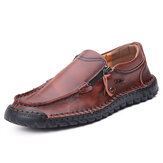 Men Hand Stitching Leather Soft Side Zipper Business Casual Slip On Flat Shoes