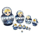 Russische Nesting Dolls 10pcs Set Blue Hand Painted
