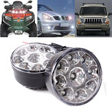 2PCS 70cm Round LED Front Driving Fog Lamps Daytime Running Lights DRL 12V 9W 7000K for Car Trailer ATV