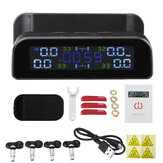 TPMS Wireless Tire Pressure Monitoring System Solar Power Clock LCD Display