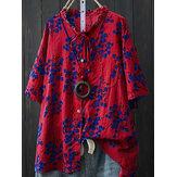 T-shirt da taschino con bottoni stampati floreali a maniche corte in cotone