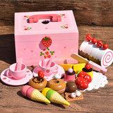 Cocina de madera Juego de simulación Juguete Accesorios para la casa de muñecas Príncipes dulces Helado Cocina Rompecabezas