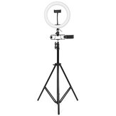 26cm LED Ring Light for Youtube Live Stream Tiktok Broadcast 10 Brightness Dimmable 2800-6500K Makeup Fill Light with Tripod Stand Dual Phone Clip