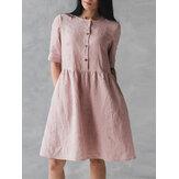 Botão de manga curta vintage bolsos algodão vestido de linho