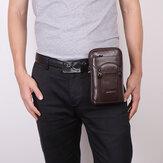 جلد طبيعي جلد البقر 6-7 بوصة هاتف حقيبة متعددة الحمل حقيبة كروس حقيبة الخصر مع حزام حلقة