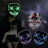 Halloween EL Glowing Máscara Black V-shaped Blood Horror LED Face Máscara Ghost Face Fluorescent Aatmosphere Props