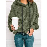 Dames Fleece Casual Effen Kleur Capuchon